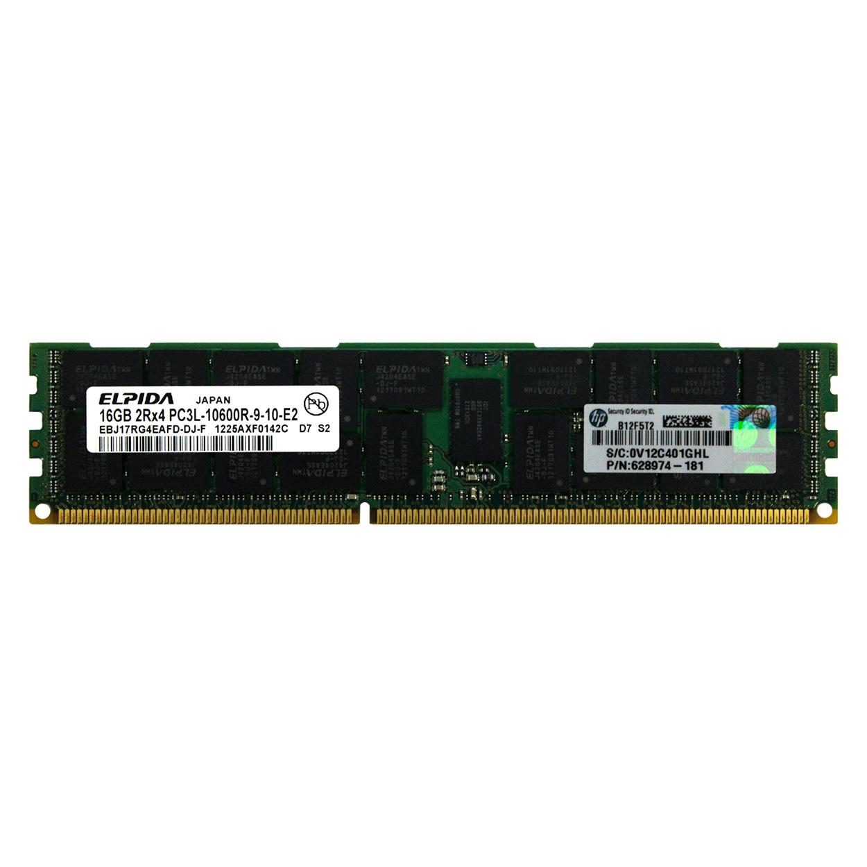 HP 16GB PC3-10600 DDR3-1333 4Rx4 ECC Registered 1.35V DIMM HP PN# 632202-001