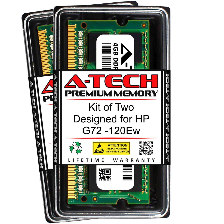 A-Tech 8GB DDR3 1333MHz SODIMM PC3-10600 204-Pin Non-ECC Memory Upgrade Kit 2 x 4GB RAM for COMPAQ G72 G72-227WM