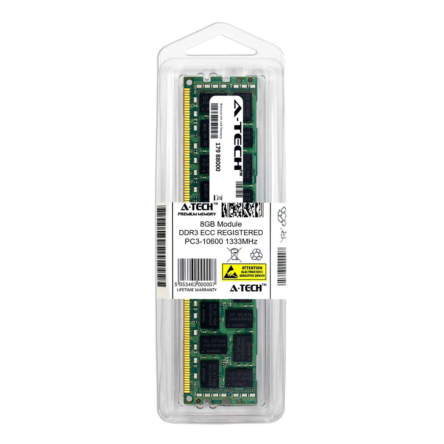 Memory RAM 8GB DDR3 PC3-10600 RDIMM Kingston KTH-PL313K3//24G Equivalent