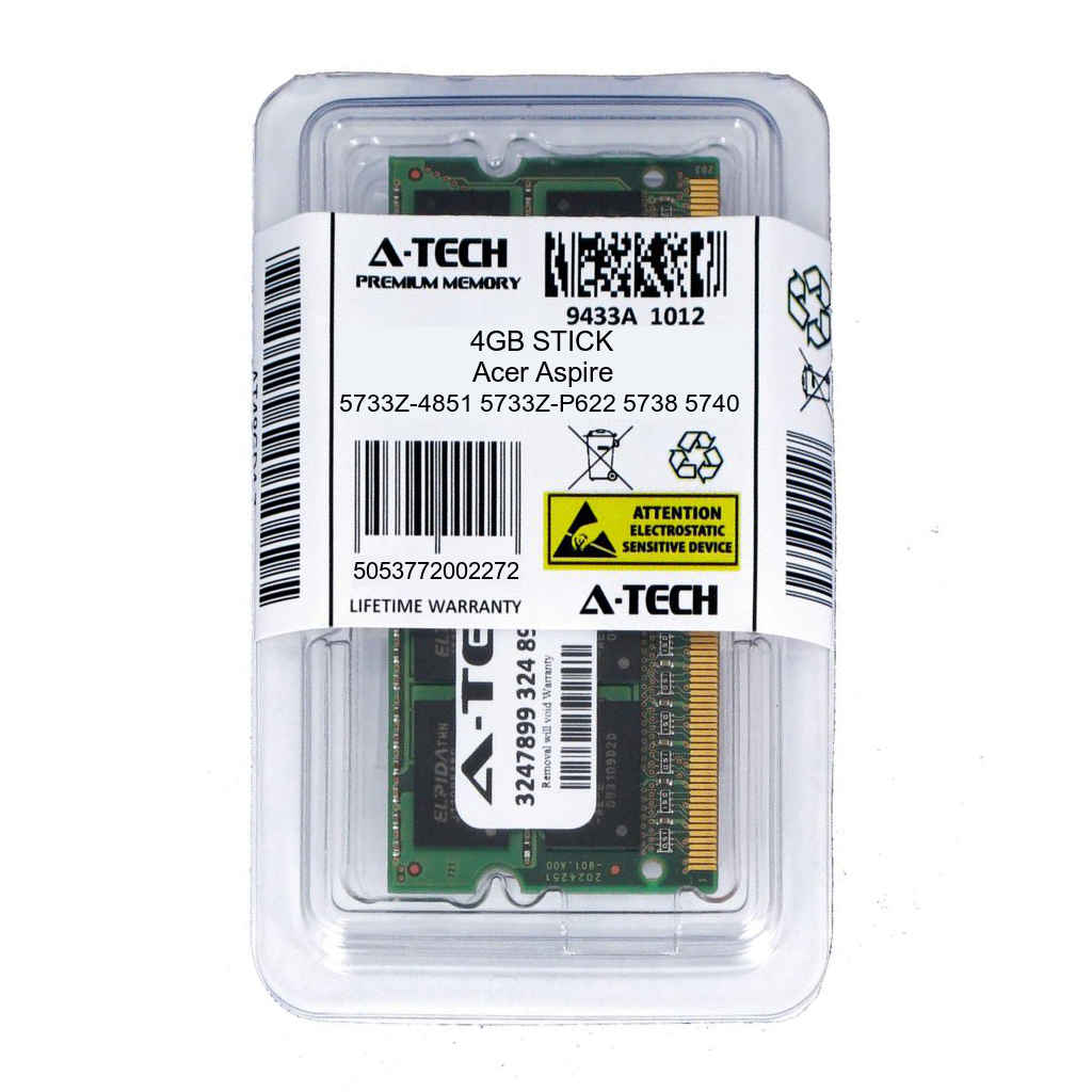 4GB SODIMM Acer Aspire 5733Z-4851 5733Z-P622 5738 5738z 5740 5740D Ram Memory