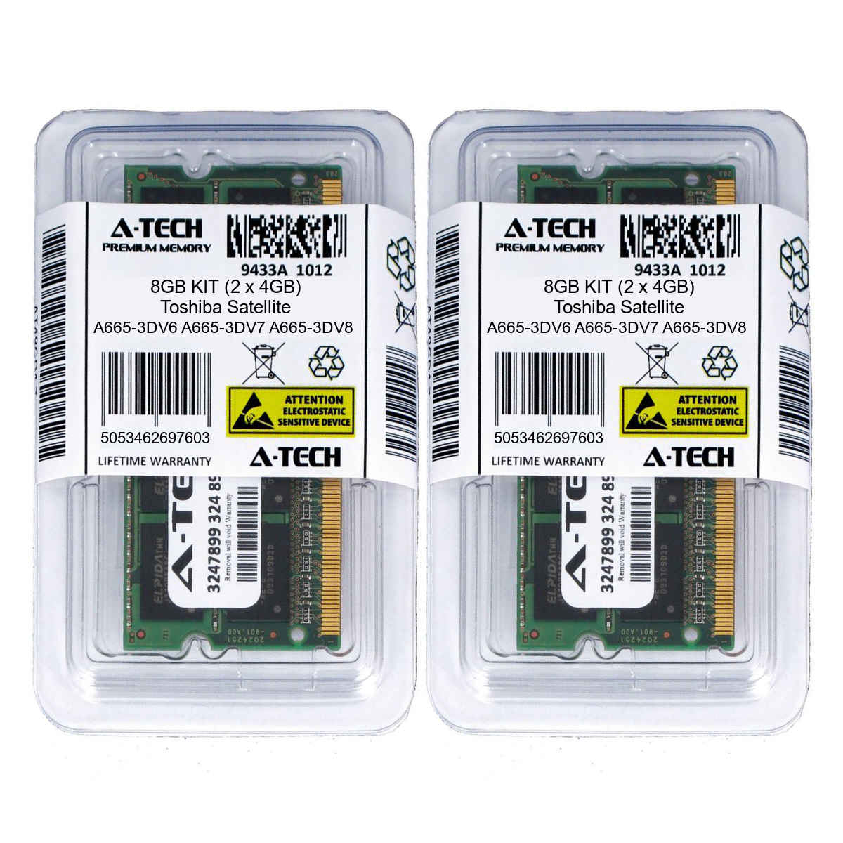 8GB KIT 2 x 4GB Toshiba Satellite A665-3DV6 A665-3DV7 A665-3DV8 Ram Memory