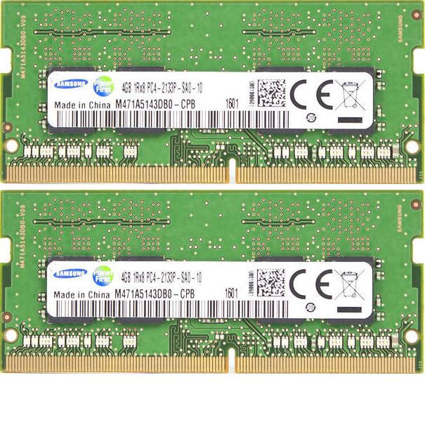 260 pin 2 x 4 GB per tutti i notebook IntelSkylake con DDR4 Standard Kit Dual Channel da 8 GB DDR4 2133Mhz, PC4-17000, CL15 2133 SO-DIMM Samsung